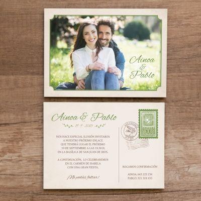 """Invitación de boda """"Postal Aventura"""""""