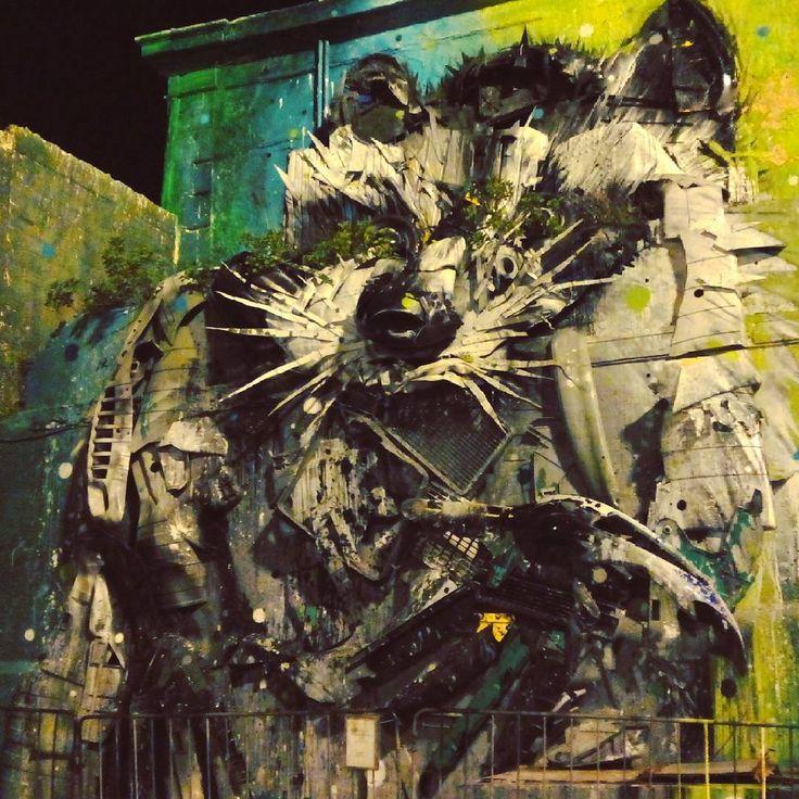 """Big Racoon"" - great street art in Belém, Lisbon, by Bordalo II viajarporquesim.blogs.sapo.pt #travelling #portugal #travelblog  #belem #lisbon #streetart #bordaloii #racoon #viajar #instadaily"