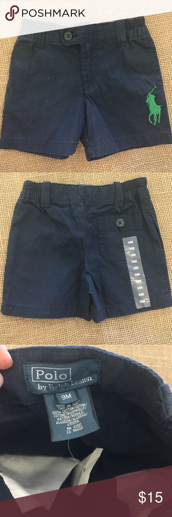 Ralph Lauren Kids Shorts size 9 months. NWT Ralph Lauren Factory Store Shorts in Navy with green polo emblem embroidered on left leg. Great fit and very comfortable for little ones. Runs a little small. Polo by Ralph Lauren Bottoms Casual