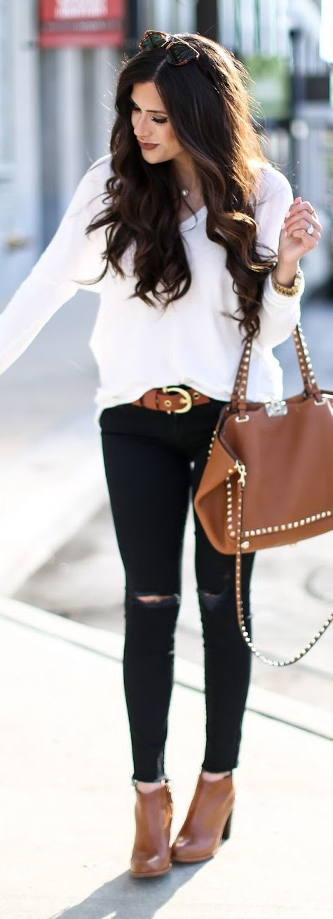 Black + White + Brown Fall Outfit More