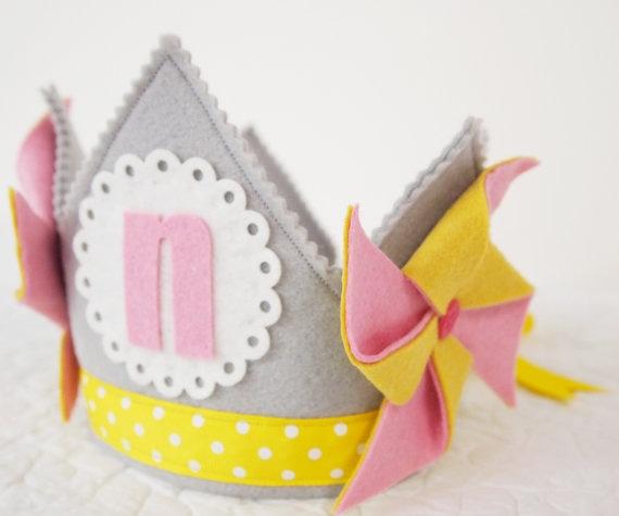 Pinwheels and Polka Dots Birthday - Girls Birthday Crown - Pinwheel Party - Carnival - Gray, Pink, Yellow