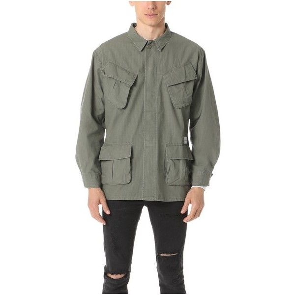 MKI Slanted Pocket Overshirt ($86) ❤ liked on Polyvore featuring men's fashion, men's clothing, men's shirts, men's casual shirts, olive, mens long sleeve shirts, mens olive green shirt, mens military style shirt, mens military shirt and mens long sleeve casual shirts