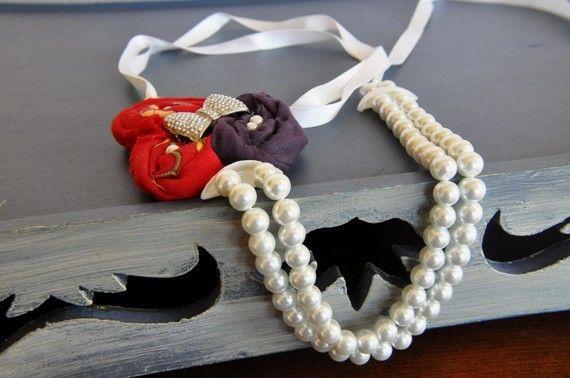 Handmade  Fabric  Rosette  Necklace