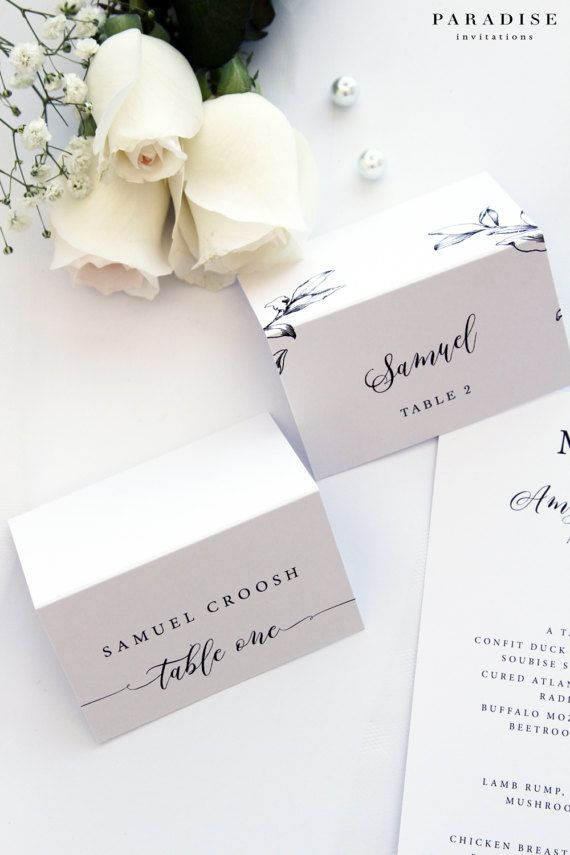Caitlin Place Cards, White Place Cards, Printable Place Cards or Printed Place Cards, Custom Colours, Sizes, Fonts
