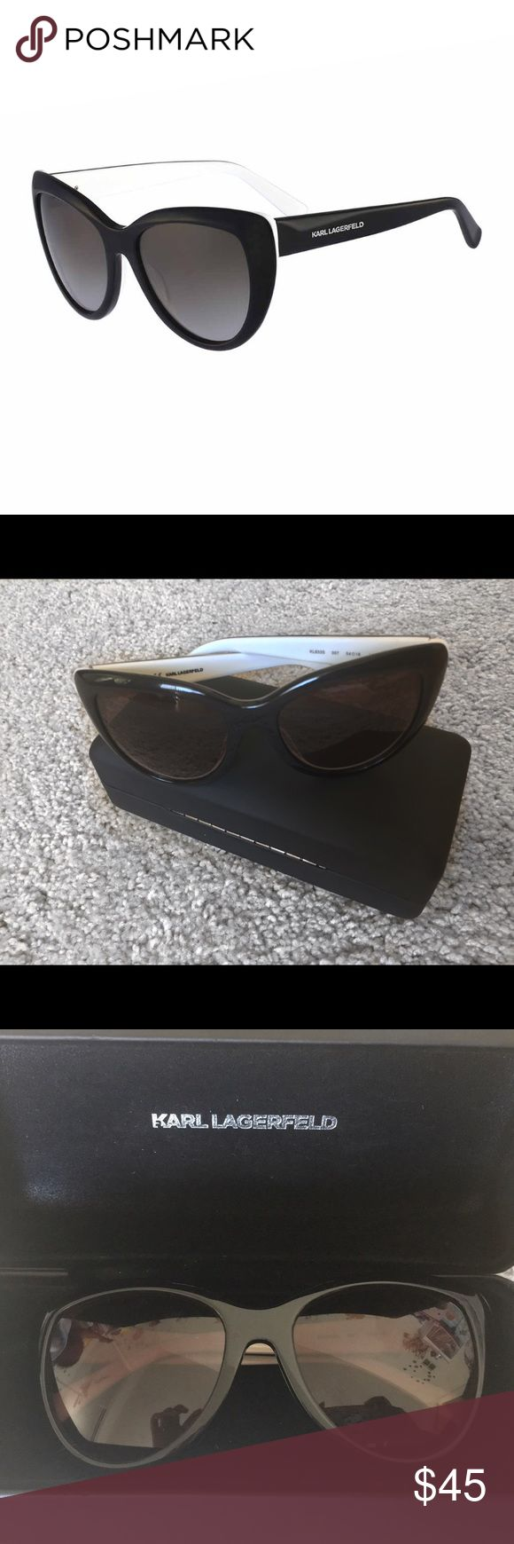 * Karl Lagerfeld * Cat eye Sunglasses with Case Cat eye Sunglasses in Black and White typical Karl Lagerfeld esthetic. It has Karl Lagerfeld written on the sides.  In Silver in the perfect size. Worn a few times in Great Condition. Karl Lagerfeld Accessories Sunglasses