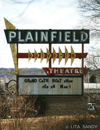 Plainfield Drive-In Neon Sign - Grand Rapids, Michigan - March, 1988 (Gone) by randomroadside, via Flickr