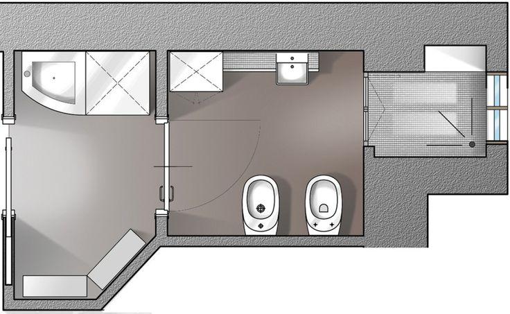 Il progetto illustra come sfruttare l'antibagno di circa 2 mq: in questo caso è stata allestita una zona lavanderia, poiché la normativa ammette l'inserimento del lavabo in questo spazio di disimpegno. Per agevolare i percorsi e ottimizzare i due ambienti, bagno e antibagno, sono state previste porte scorrevoli a scomparsa.