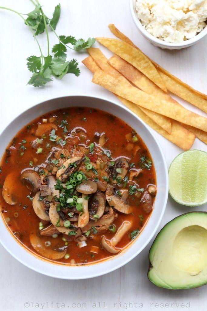 Spicy mushroom tortilla soup with avocado, queso fresco, tortilla ...
