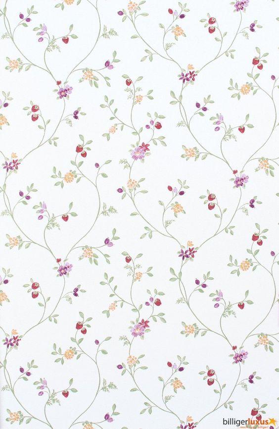 Wallpaper Rasch Blooming Garden satin wallpaper 001177 flowers white green Wallpapers Rasch Textil Blooming Garden: