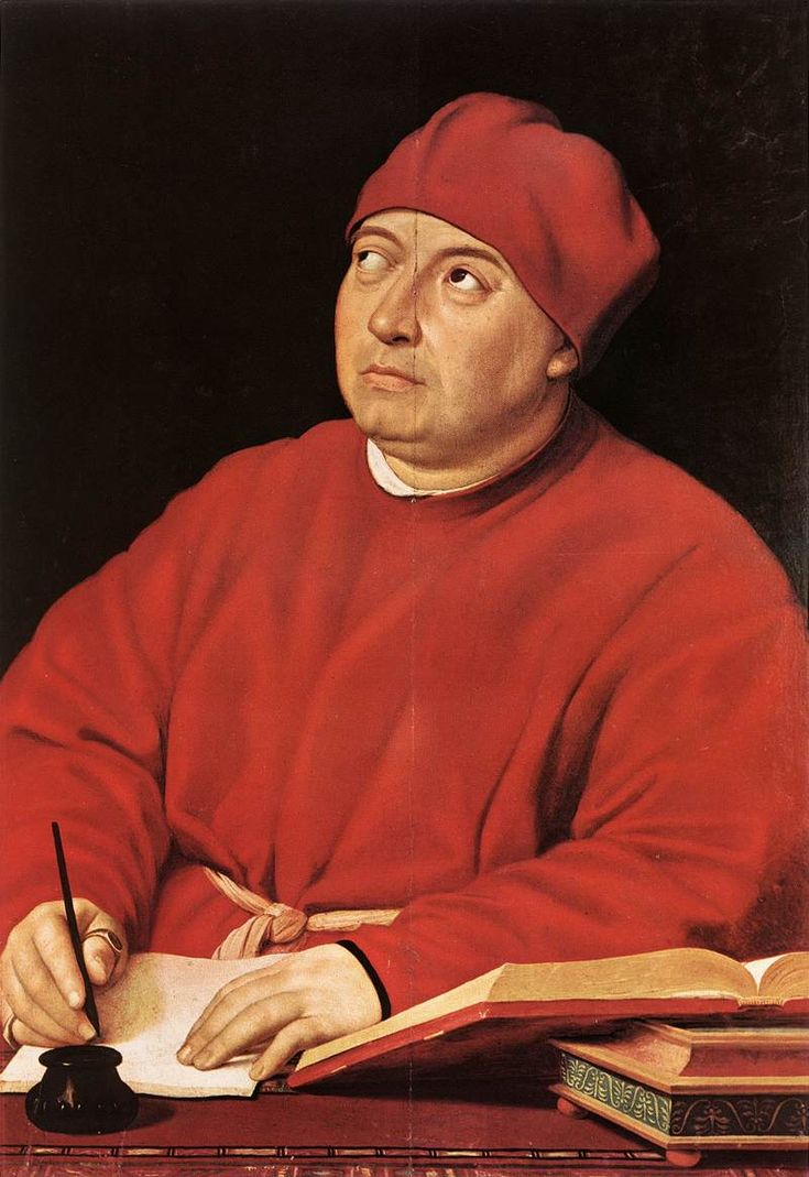 Raphael, Portrait of Tommaso Inghirami, 1509. Inghirami, a cardinal, suffered from strabismus, a condition in which the eyes are not properly aligned.