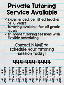 Tutoring Flyer (Lined Paper Theme), Editable  07957330089 inma