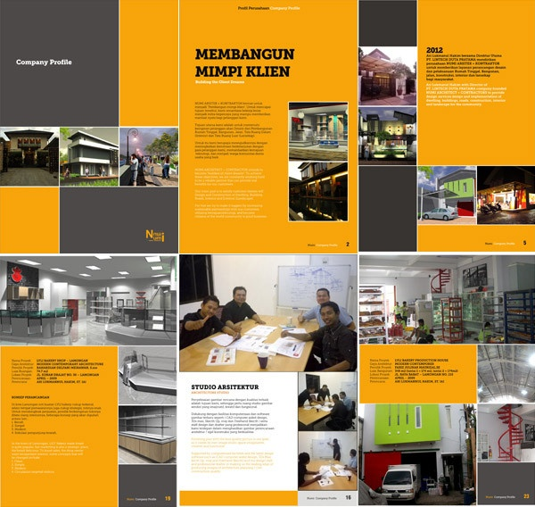 Digital company profile for Numi Architect & Contractors, Surabaya.