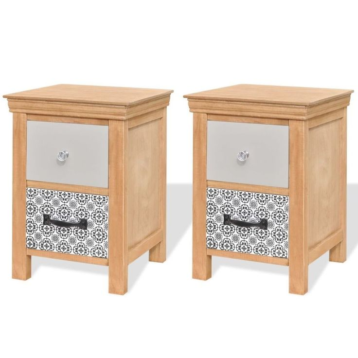 Home Bedside Cabinet Table Bedroom Nightstand Furniture Wood Brown 2 Pieces Set #HomeBedsideCabinet