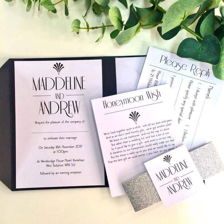 Art Deco Wedding Invitation  www.thevowweddings.com
