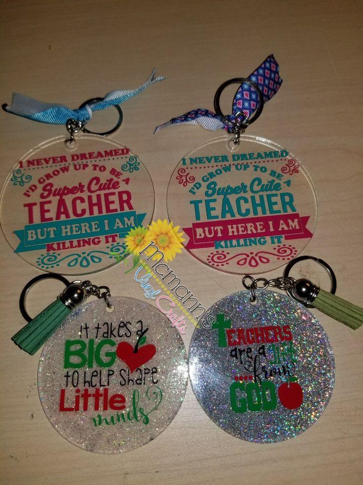Acrylic key chains 5 each cricut crafts diy teacher