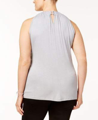 INC Plus Size Chevron-Sequined Halter Top, Created for Macy's - Silver 3X