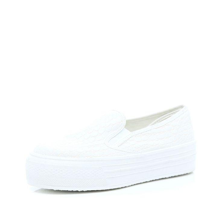 River Island White Slip On Flatform Plimsolls in White for Men | Lyst