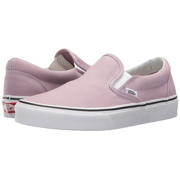 Vans Classic Slip-On (Sea Fog/True White) Skate Shoes ($50) ❤ liked on Polyvore featuring shoes, sneakers, white sneakers, vans shoes, white shoes, skate shoes and leather slip on sneakers