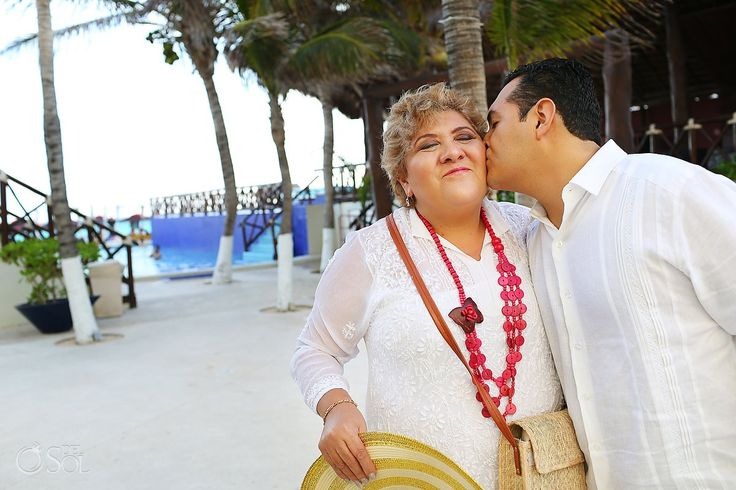 Sweet moment with the groom and his mother before a Mandala Beach Club Cancun wedding on the beach. Mexico wedding photographers Del Sol Photography