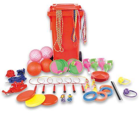 Spiel- und Pausentonne - für mind. 80 Kinder - Springseile - Schwingseile - Senso-Bälle - Soft-Fußbälle - Gummitwist - Jonglierteller - Soft-Wurfscheiben - Moosgummi-Ringe - Schleuderbälle - Klettball-Spiele und mehr #Betzold #Sport #Bewegung #Schule #Kindergarten
