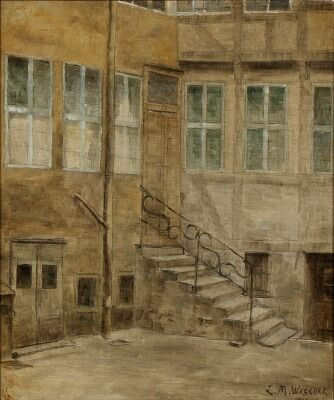 Einar Wegener: Scene from a back yard. Signed E. M. Wegener. Oil on canvas. 48.5 cm x 40.5 cm.