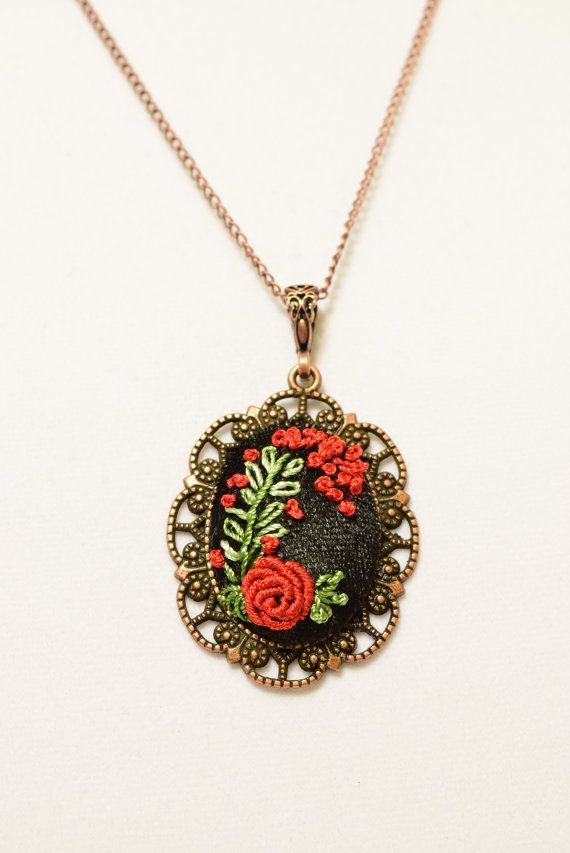 Victorian Embroidered Red Rose Flower Necklace by Anatoliagems