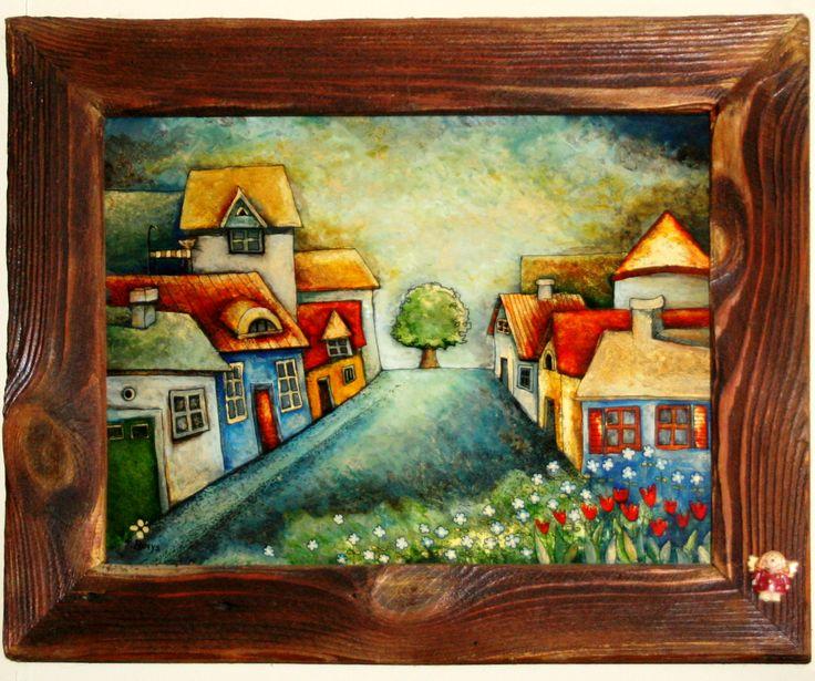 MIASTECZKO malowane na szkle Danuta Rożnowska-Borys - BorysArt