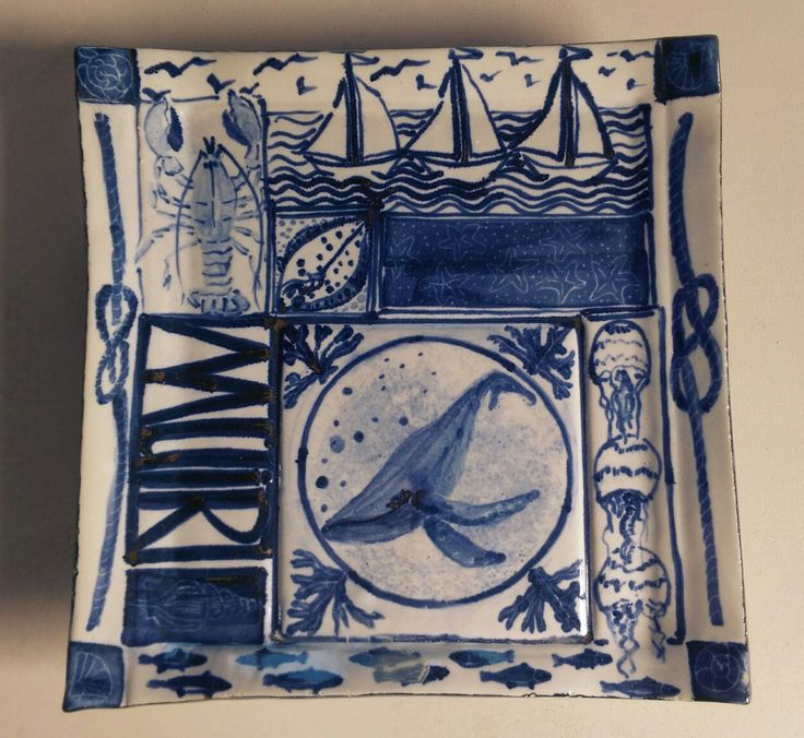 Ceramic dish. Sea themed, humpback whale, blue and white decoration.