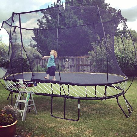 Spring free trampoline.  It seems they are only available in NZ at the moment, but hopefully they will be for sale in the EU and US soon. My kids are soo getting one of these. I Always wanted a trampoline:)