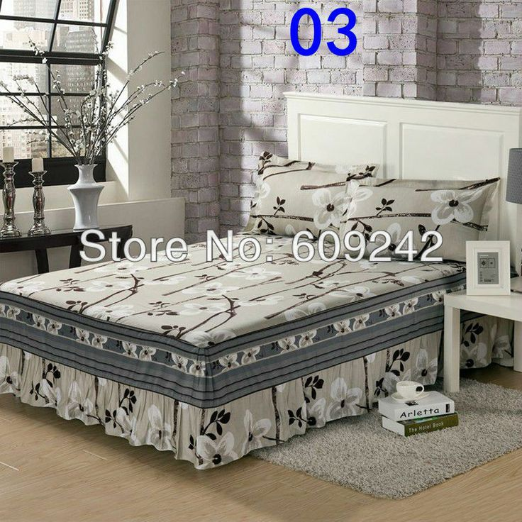 Free Shipping 03 100 Cotton Printing Twin Full Queen King Size Bed Skirts Ed