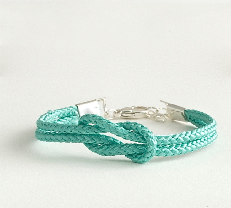 Love Knot Bracelet . Aqua Rope Bracelet . Handmade Jewelry . by MoshPoshDesigns. $14.00, via Etsy.
