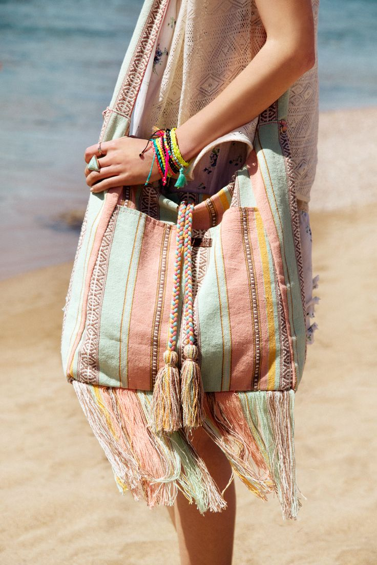 boho beach bag with fringes  shop now   http://bit.ly/29uj8RT