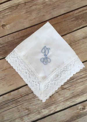 Irish Linen Cathedral Lace Handkerchief #monogrammed By Elegant Monograms