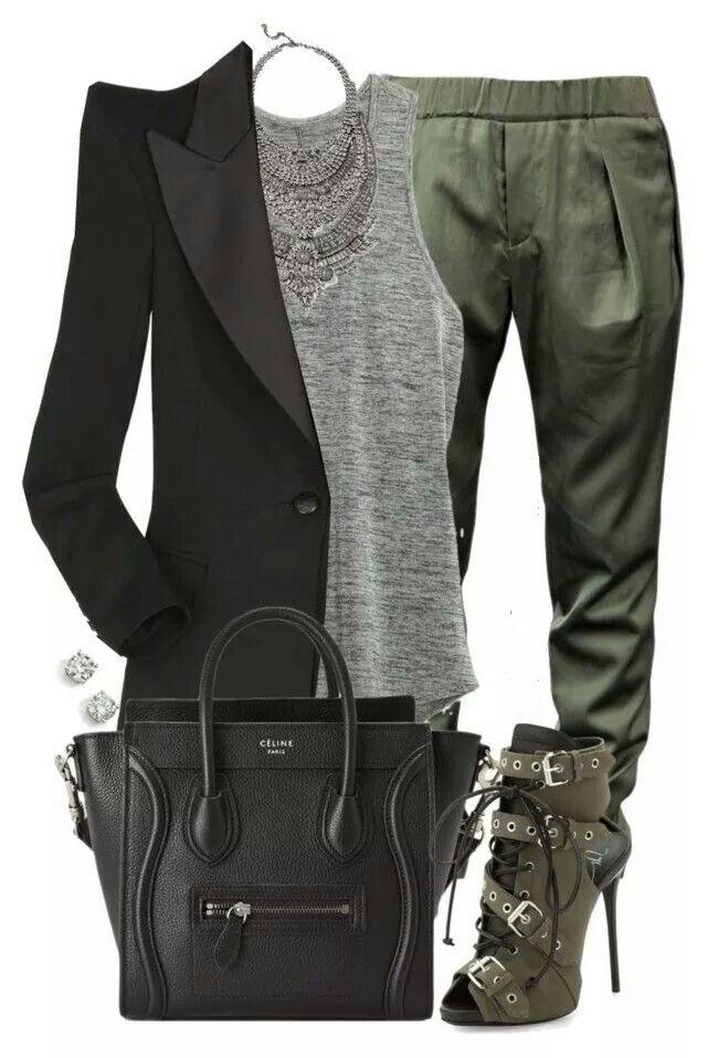 Business casual green black & grey