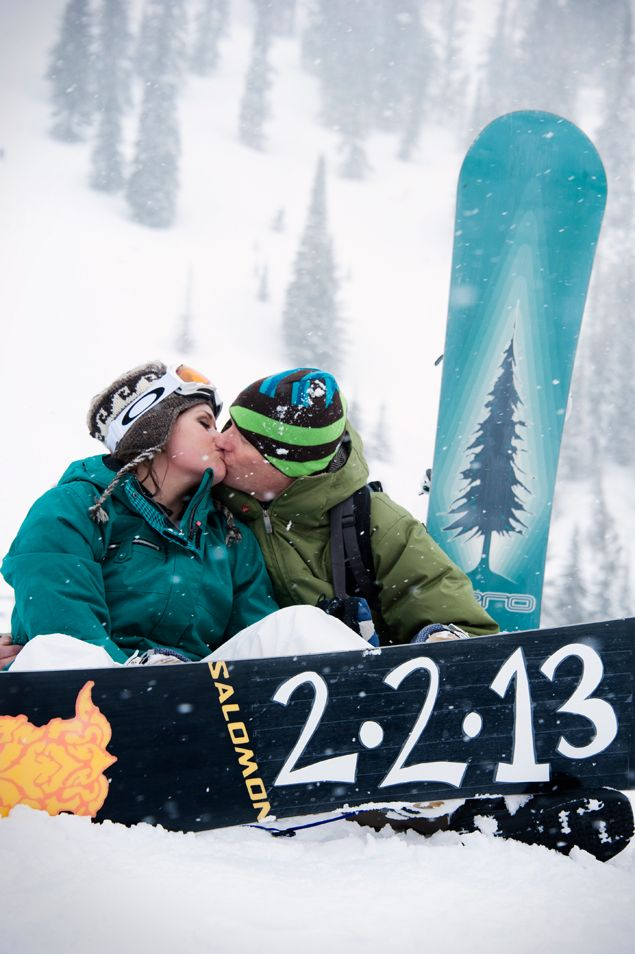 Snowboarding Engagement Shoot - @Alex Atkinson Rae You and Kenny should do this when you get engaged!!!! How Cute?!