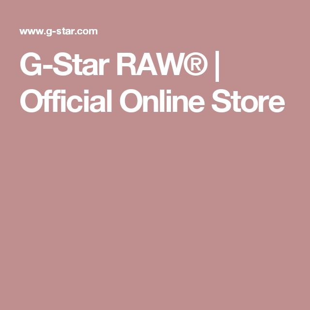 G-Star RAW® | Official Online Store