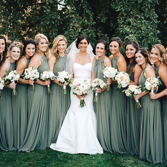 765456b7801 Looking for some earthier tones for your maids  How about these fern green  Dessy gowns  Shop these Dessy dresses available on brideside.com Photo by   Steve ...