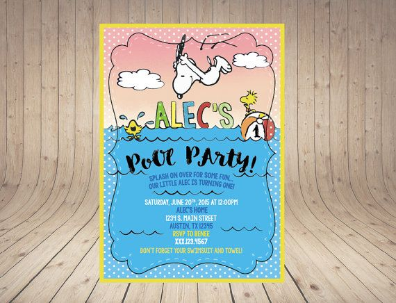 23 best Snoopy and donuts pool party images – Snoopy Party Invitations