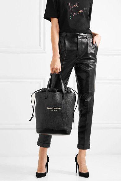 2eda4300939c Saint Laurent   Teddy leather-trimmed printed raffia tote   NET-A-PORTER.COM