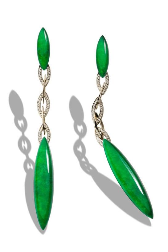 Vhernier earrings | white gold, diamonds,   and imperial jade