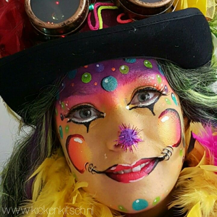 Carnaval / vastelaovend 2017 schmink dots door Kicken Kitsch ❤💛💚 Face painting dots