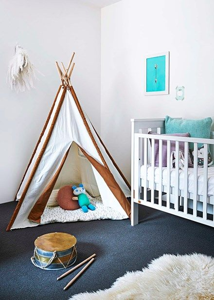 A teepee adds a playful note to the nursery   Home Beautiful Magazine Australia