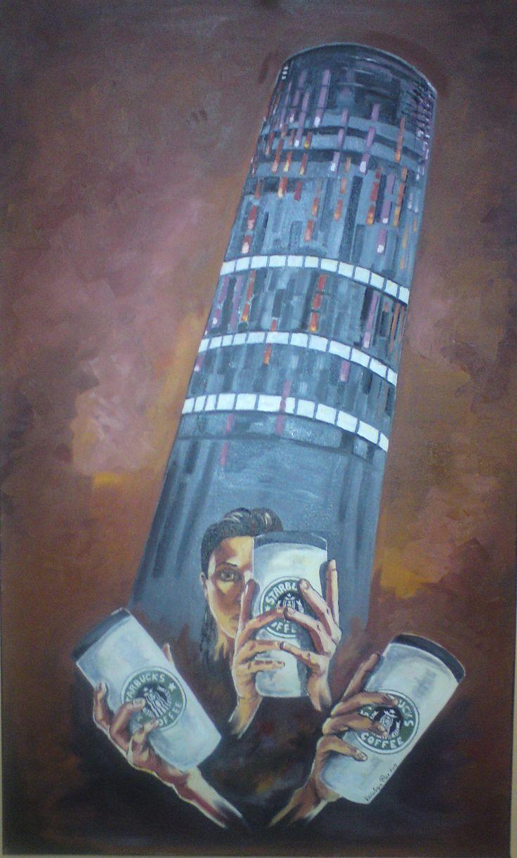 I love Coffee.  Oil on canvas 100 x 60 cm
