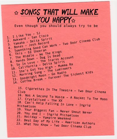 Songs that will make you happy