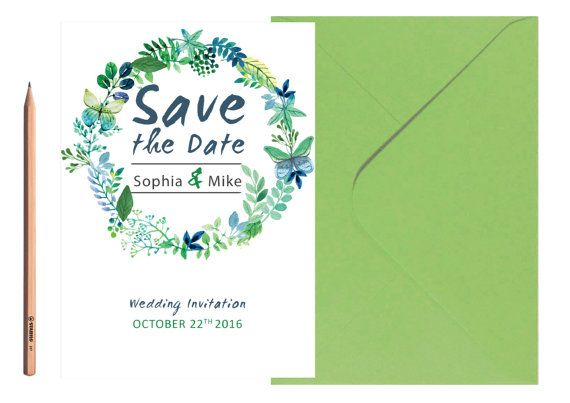 SAVE THE DATE Garden Wedding Invite Blue and by LoveArtsStationery