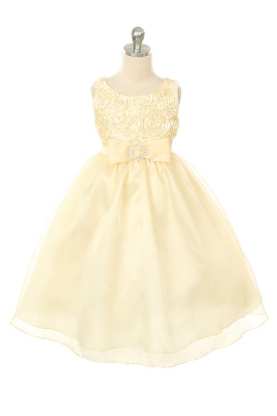 Cream Rosette Tape with Organza Skirting and Rhinestoned Clasp Dress