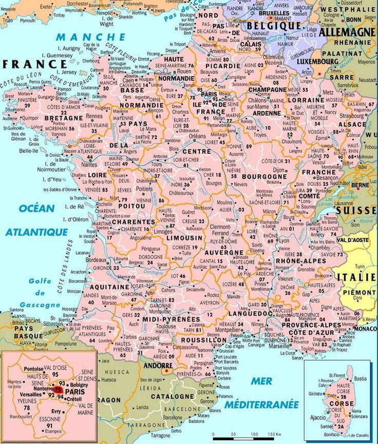 Carte de France des villes   Carte de france, Carte de ...