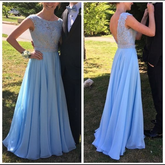 Charming Pink Prom Dress, Baby Blue Prom Dress, Chiffon Prom Dress, Long Prom…