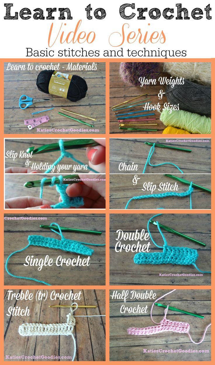 Learn to Crochet Video Series by Katie's Crochet Goodies - FREE! Basic stitches and techniques ---- http://www.katiescrochetgoodies.com/2013/09/learn-to-crochet-video-series.html