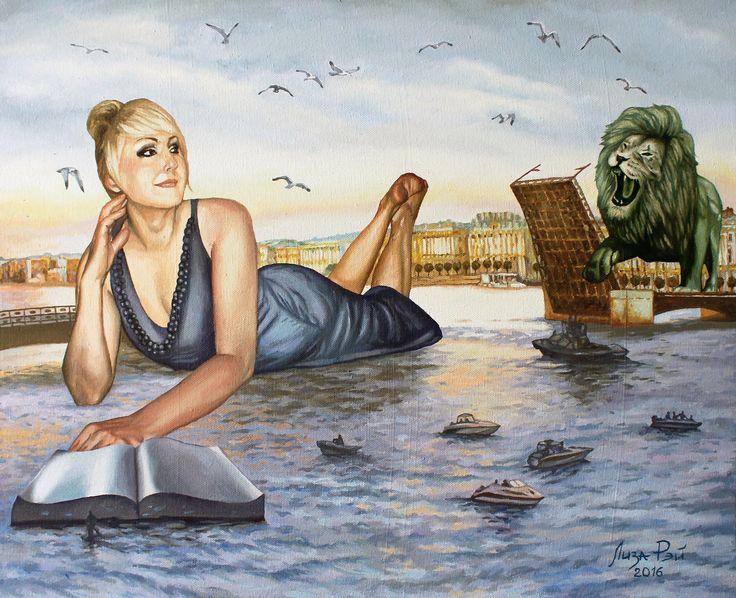 Лиза Рэй – Белые ночи Liza Ray  -  White Nights Х.м., 80Х65, 2016 oil on canvas #Петербург #Питер #белыеночи #лев #гранитнаякнига #разводныемосты #мост #Petersburg # Piter #whitenight #lion #granitebook #bridge #surreal #surrealism #超現實主義 #surréalisme #シュールレアリズム  #painting #LizaRay #сюрреализм #ЛизаРэй #живопись #картины #художник #art